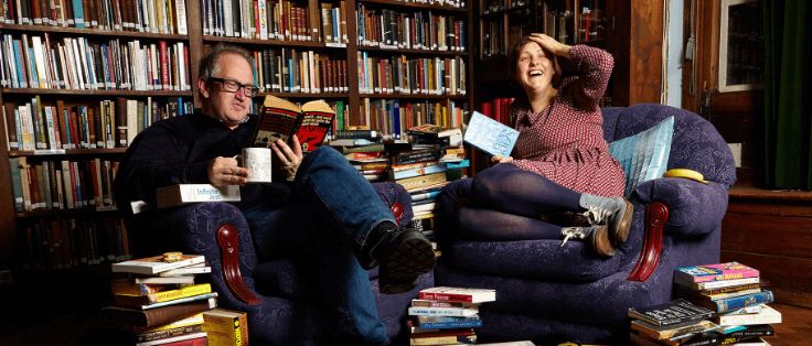 Robin Ince and Josie Long reading books