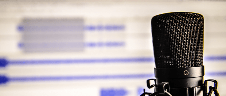 Condenser microphone in front of an audio editing program